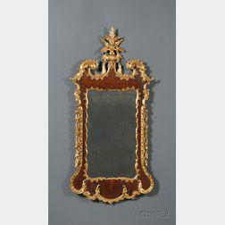Rare Chippendale Mahogany and Mahogany Veneer Gilt Pier Glass