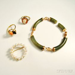 Four Pieces of Mostly 14kt Gold Jewelry