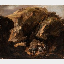 Flemish School, 17th/18th Century      Two Small Landscapes: Bandits in Mountainous Terrain