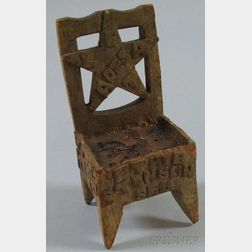 Miniature Folk Carved Wood Texas Fraternal Chair