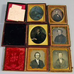 Five Sixth-plate Daguerreotype Portraits and an Ambrotype Depicting Gentlemen