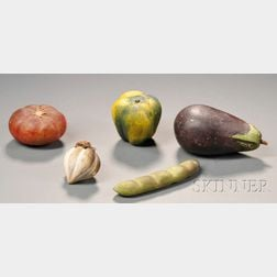 Five Carved and Painted Stone Vegetables