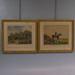 Two Framed Reproduction Hunt/Sporting Scenes:      Ketterlinus, lithographer (Philadelphia, Late 19th/Early 20th Century)