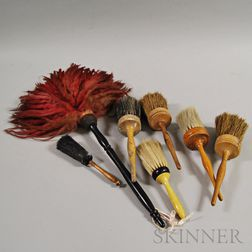 Six Shaker Turned Wood and Horsehair Brushes and a Duster.     Estimate $400-600