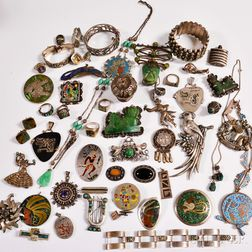 Group of Mexican Sterling Silver and Hardstone Jewelry