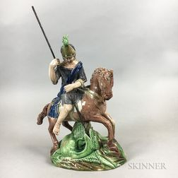 Ralph Wood-type Glazed Earthenware Figure of St. George and the Dragon