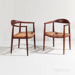 """Pair of Hans Wegner for Johannes Hansen Model 501 """"The Chair"""" Armchairs"""