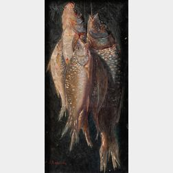 American School, 20th Century      Still Life with Hanging Fish