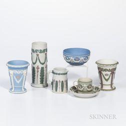 Six Wedgwood Tricolor Jasper Items
