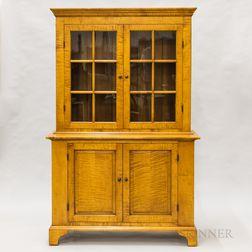 Eldred Wheeler Glazed Tiger Maple Step-back Cupboard