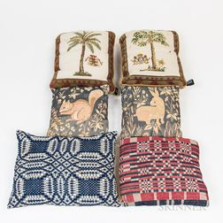 Six Needlework and Coverlet Fabric Pillows