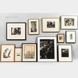 Eleven Framed Works on Paper of City Life:      Nine Prints, a Drawing, and a Photograph:   Arthur Werger (American, b. 1955), Silence