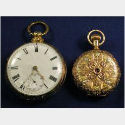 Two 14kt Gold Pocket Watches, H.E. Hillmann & Co., J &W Moir