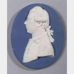 Wedgwood and Bentley Solid Blue Jasper Oval Portrait Medallion of Sir Joseph Banks