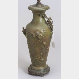 After August Moreau (French, active c. 1860-1910)   Art Nouveau White Metal Vase Lamp Base