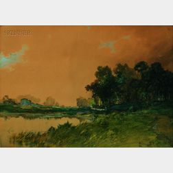Lot of Two Works:      C. Myron Clark (American, 1876-1925), Stream at Dusk