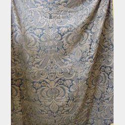 Fortuny-type Blue and Gray Printed Bed Cover