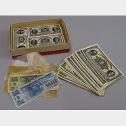 Group of 19th Century U.S. Fractional Currency and Fragments, and 20th Century   Foreign Currency and Tickets