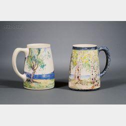 Two Salmagundi Club Painted Porcelain Mugs:      George Glenn Newell (American, 1870-1947), View through the Trees