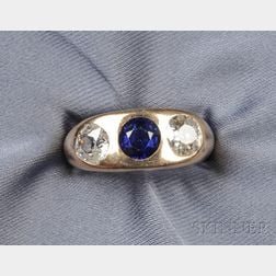 14kt Gold , Synthetic Sapphire and Diamond Three-stone Ring