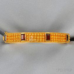 19kt Gold and Garnet Bracelet