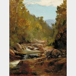 Edward Hill (American, 1843-1923)      Lot of Two Landscapes: Autumn Brook, Possibly the White Mountains, New Hampshire