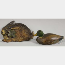 Painted Cast Iron Mallard Paperweight and a Bradley & Hubbard Painted Cast Iron   Rabbit with Clover Pin Tray