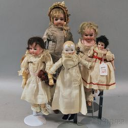 One Small China and Four Bisque Head Dolls
