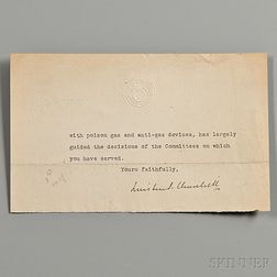 Churchill, Winston (1874-1965) Fragmentary Typed Letter Signed, 7 December 1918.