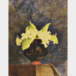 Attributed to Henry Lee (American, 1864-1930)      Floral Still Life with Cowslips in a Pottery Vase
