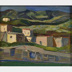 Costantino Spada (Italian, 1922-1975)      Village Nestled in the Hills