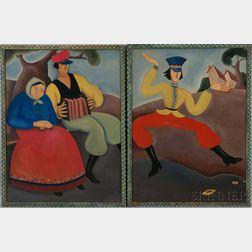 Eastern European School, 20th Century      Two Paintings of Country Peasants
