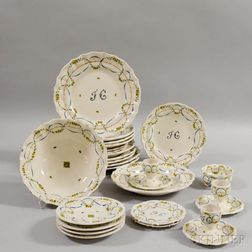 Twenty-four Pieces of Polychrome Faience Pottery Tableware.     Estimate $150-250