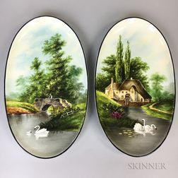 Pair of Hand-decorated Ceramic Landscape Plaques