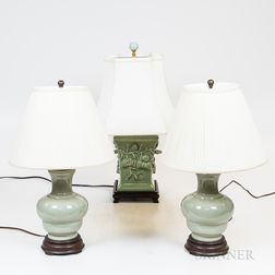 Three Asian-style Celadon Vases Mounted as Lamps