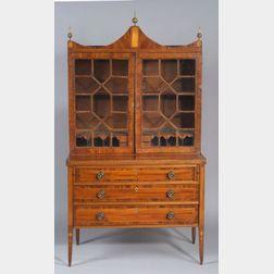 Federal Mahogany Inlaid Glazed Desk/Bookcase