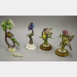 Four Royal Worcester Porcelain Birds