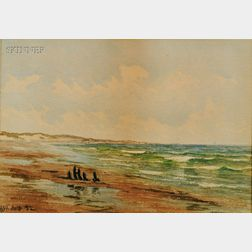 Lot of Two Works:      Charles Henry Gifford  (American, 1839-1904), Ship at Sea
