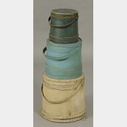 Three Painted Covered Wooden Firkins