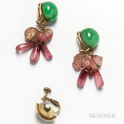 14kt Gold, Jadeite, and Tourmaline Earclips and Single 14kt Gold Earclip
