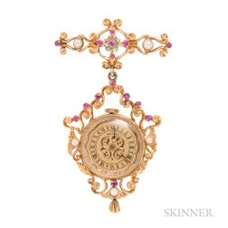 14kt Gold, Ruby, and Pearl Watch Brooch, Montreux