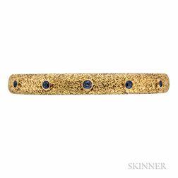 Art Nouveau 14kt Gold and Sapphire Bangle Bracelet