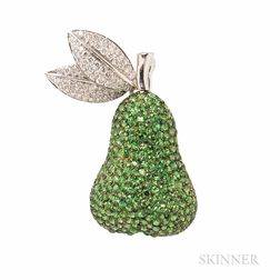 18kt Gold, Tsavorite Garnet, and Diamond Pear Brooch