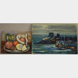 Ernst Halberstadt (American, 1910-1987)      Two Double-sided Compositions: Harbor Scene/Sand Dunes