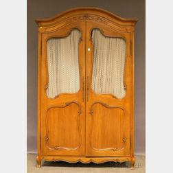 French Provincial-style Carved Walnut Two-door Armoire