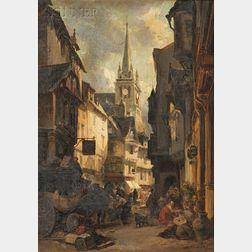 Jules Achille Noel (French, 1815-1881)      The Bustling Market