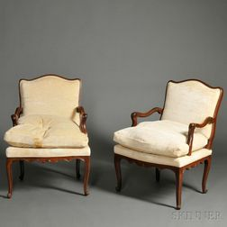 Pair of Louis XV-style Walnut Fauteuils
