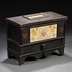 Black-painted Lidded Box Inset with Frakturs