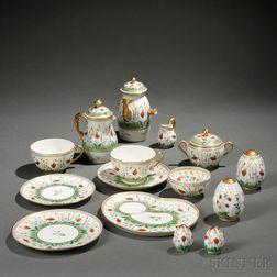 Limoges Hand-painted Porcelain Partial Breakfast Service