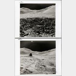 Apollo 15, Lunar Module Falcon, Lunar Surface, Two Photographs.